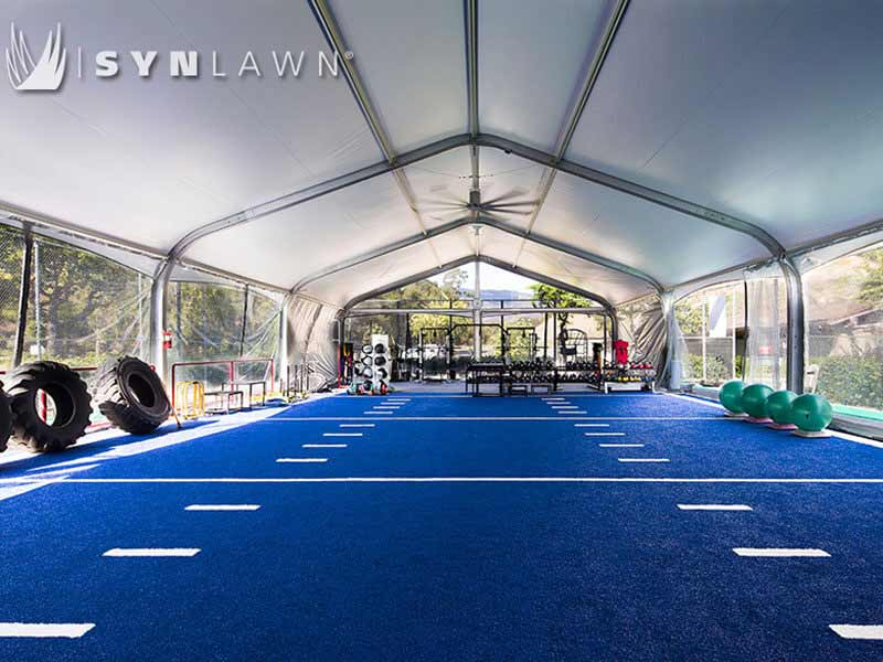Blue SYNLawn SpeedTurf with field markings for outdoor crossfit training facility