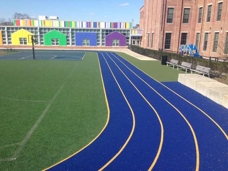 Outdoor blue track for school
