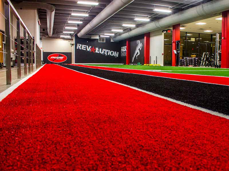 Red and black SpeedTurf installation for Parisi Speed Performance School