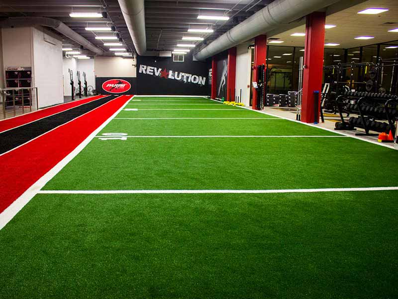 Indoor athletic turf at Parisi Sports Performance School in Kansas
