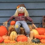 Cute scarecrow sits on bale of hay surrounded by pumpkins in front of blue-gray siding