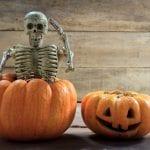 Skeleton sits on top of fake pumpkin next to carved pumpkin and wood planks behind