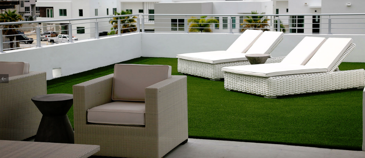 Synthetic grass on a decorated rooftop
