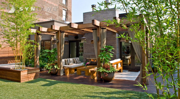 artificial grass in Kansas installed on a rooftop